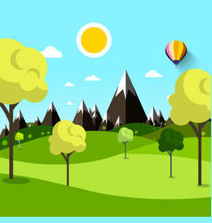 trees on meadow with mountains on background vector image vector image