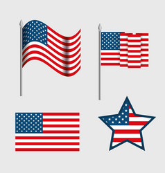 usa emblems set patriotic symbol vector image