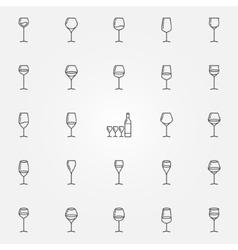 Wine glasses icons set vector image
