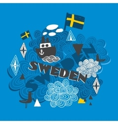 Cool pattern with swedish symbols vector image vector image