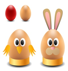 Egg rabbit and chicken for Easter vector image vector image