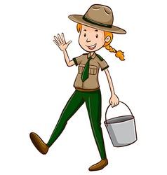 Female park ranger holding bucket vector