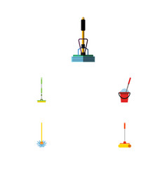 Flat icon mop set of broomstick cleaner vector