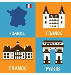 French landmarks and travel flat icons vector image vector image