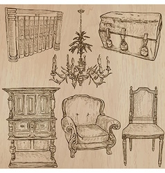 Furniture - sketches line art vector image