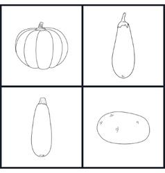 Icons potato eggplant zucchini pumpkin vector