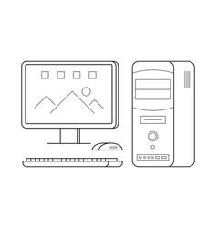 personal computer line art simple gadget icon vector image vector image