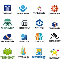 biggest collection of logos technology vector image