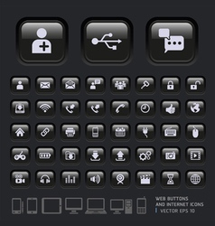 Black button for website and app vector image vector image