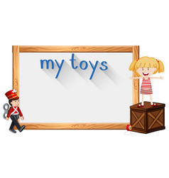 Border template with girl and toy vector