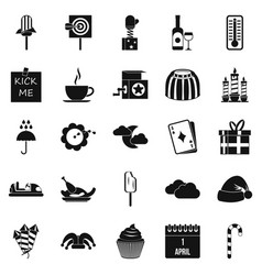 childrens parties icons set simple style vector image vector image
