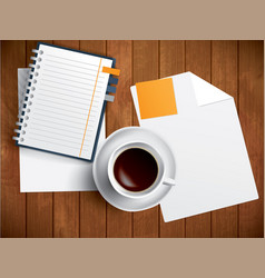 coffee notebook and paper on wooden table vector image