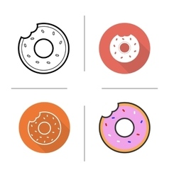 Donuts flat design linear and color icons set vector image