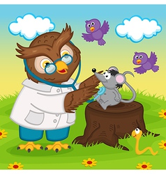 owl doctor with stethoscope vector image
