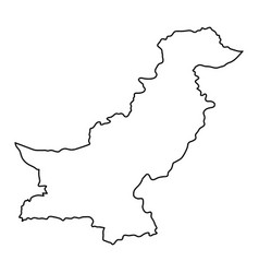 pakistan map of black contour curves on white vector image