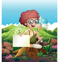 A boy sitting above a stump holding an empty vector image vector image