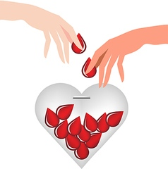 Hand donate blood drop put in heart glass vector image vector image