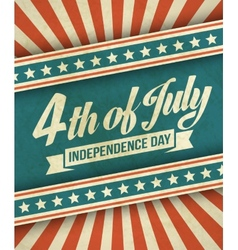 Retro typography card Independence Day vector image