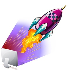 Rocket flying out of computer screen vector image