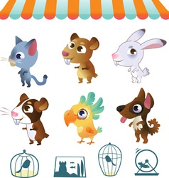 Set of cartoon pets vector image vector image