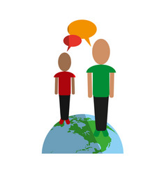 Two people standing on earth global communications vector