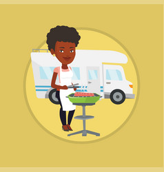 woman having barbecue in front of camper van vector image vector image