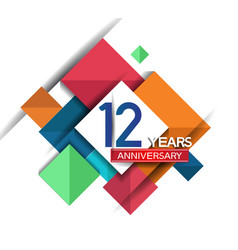 12 years anniversary design colorful square style vector