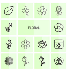 14 floral icons vector