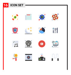 16 universal flat color signs symbols of vector