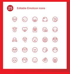 25 emoticon icons vector