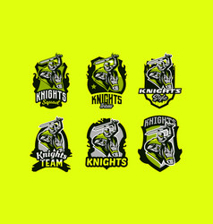 a set of colorful emblems logos of knight vector image