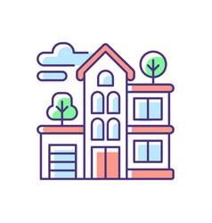 Apartment building rgb color icon vector