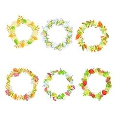 Autumn floral leaf wreath set vector
