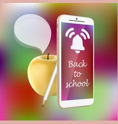 back to school smartphone yellow apple pencil vector image