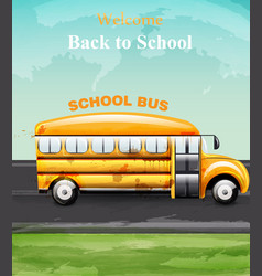 back to school watercolor card yellow bus vector image