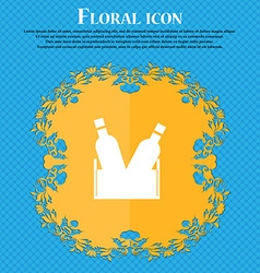 Beer bottle icon sign Floral flat design on a blue vector image