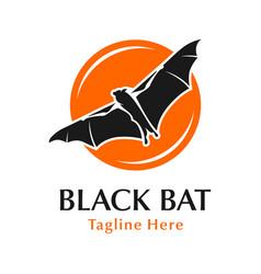 black bat logo design with circle vector image
