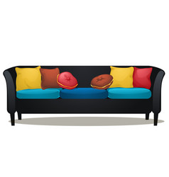 black sofa with colored soft pillows isolated on vector image