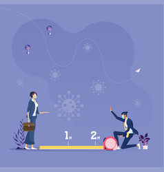 Businessman and woman keep social distance vector