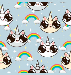 cats unicorns and a rainbow unicorn cats vector image