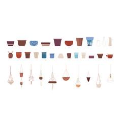 ceramic pots flat set vector image