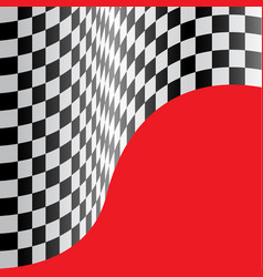 checkered flag wave red design race sport vector image