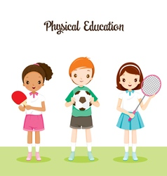 Children With Sport instrument vector image