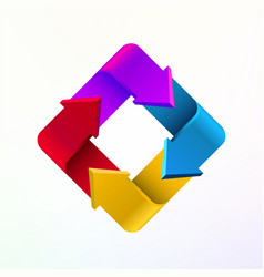 colorful arrows in form rectangle logo company vector image