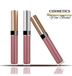 colorful realistick lipgloss package in gold vector image