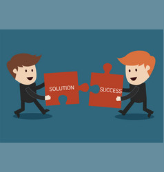 concept of teamwork jigsaw puzzle vector image vector image