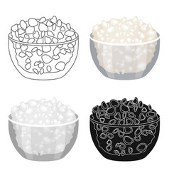 Cottage cheese in the bowl icon in cartoon style vector