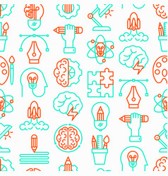 Creative seamless pattern with thin line icons vector