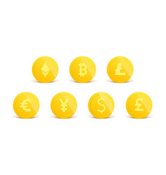 cryptocurrency 3d realistic gold coins set on vector image