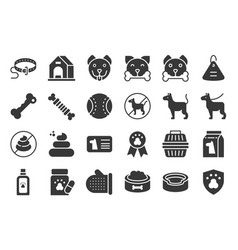 Cute dog related icon set such as collar pet vector